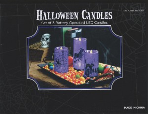 led set of 3 purple flameless halloween candles