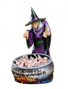 jim shore witch with cauldron halloween candy holder