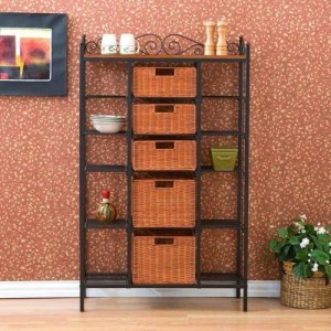 manilla storage bakers rack with drawers