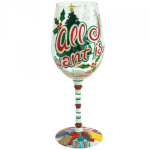 all i want christmas painted wine glass