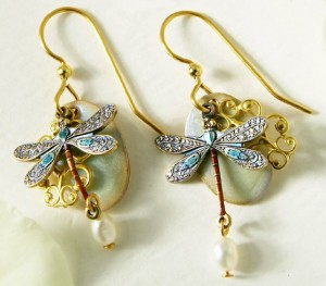 silver forest fresh water pearl dragonfly earrings